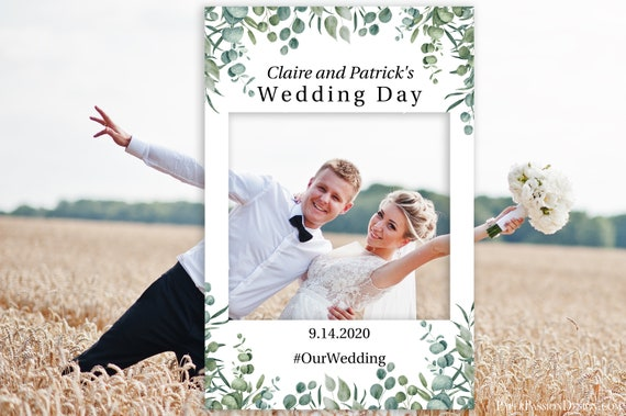 Editable Photo Prop Frame, Greenery Wedding Photo Booth Prop, Baby or Bridal Shower, Templett, 100% Editable, PDF PPW0440 PPB0440