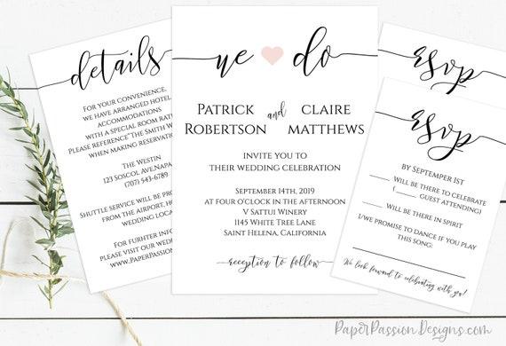 We Do Wedding Invitation Suite, Wedding Minimalist Invite, Envelope Template, RSVP and Detail Card 100% Editable, Templett PPW0550