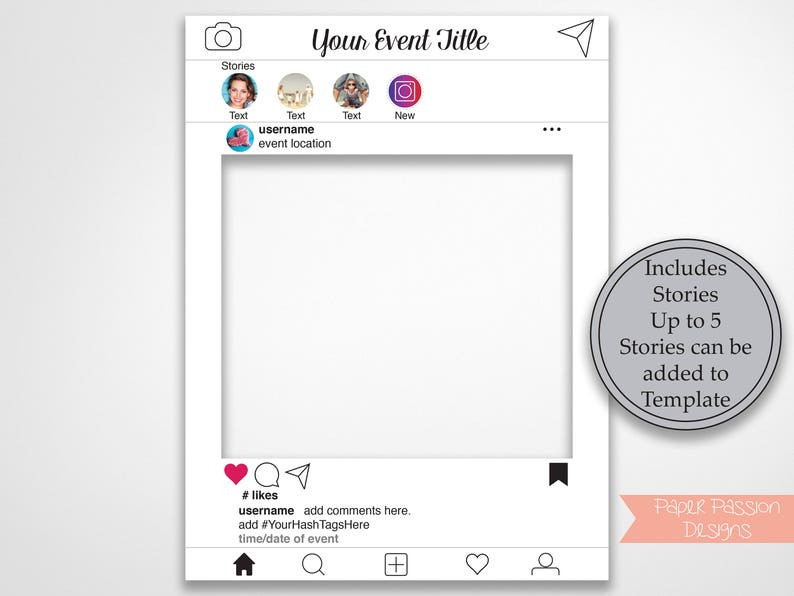Birthday White Photo Booth Prop Weddings Instant Download PDF Baby or Bridal Shower Template Instagram Photo Prop Frame with Stories