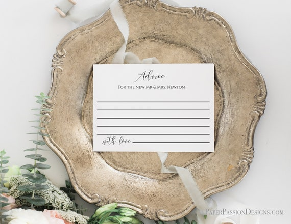 Newlywed Advice Card for Wedding Reception and Bridal Shower, Simplistic Elegant Font Template 100% Editable, Templett PPW0550