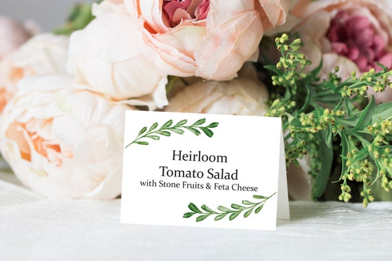Greenery Buffet Label, Food Station Card, Wedding Buffet Table Template, Tented Cards, Printable Food Sign 130