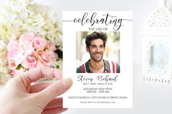Memorial Invitation Printable, Celebration of Life Template, Funeral Invite, Editable Corjl Template PPF550