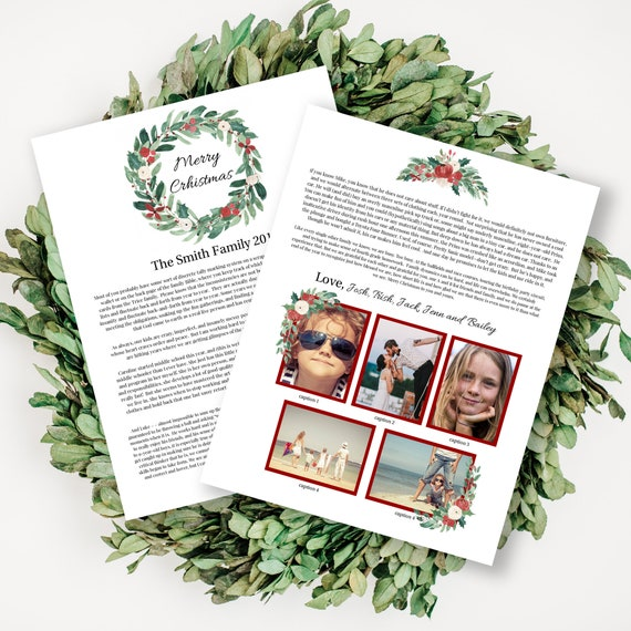 Photo Christmas Letter Template, Year in Review, Christmas Newsletter, Red Floral Greenery Design, Instant Download 100% Editable PPC-19