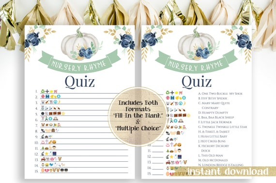 Sweet Pumpkin Emoji Nursery Rhymes Match Quiz ~ Blue, Green and Gold Baby Shower ~ Baby Boy Pumpkin Design ~ Printable Game PPB130B