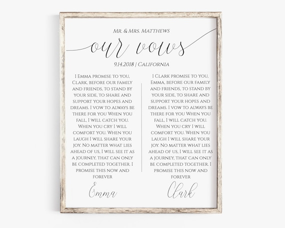 Wedding Vow Keepsake, 1st Year Anniversary Gift, Paper Gift, Personalized Instant Download 100% Editable, Templett  PPW0560
