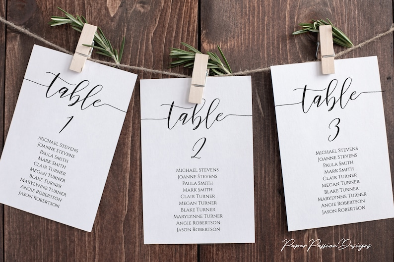 Wedding Seating Table Cards Poster Elegant Calligraphy image 0