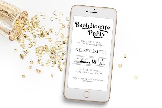 Bachelorette Party Evite, Hen Party, Electronic Invitation, Bridal Shower, Modern Retro Design, 100% Editable Template, Corjl PPW74