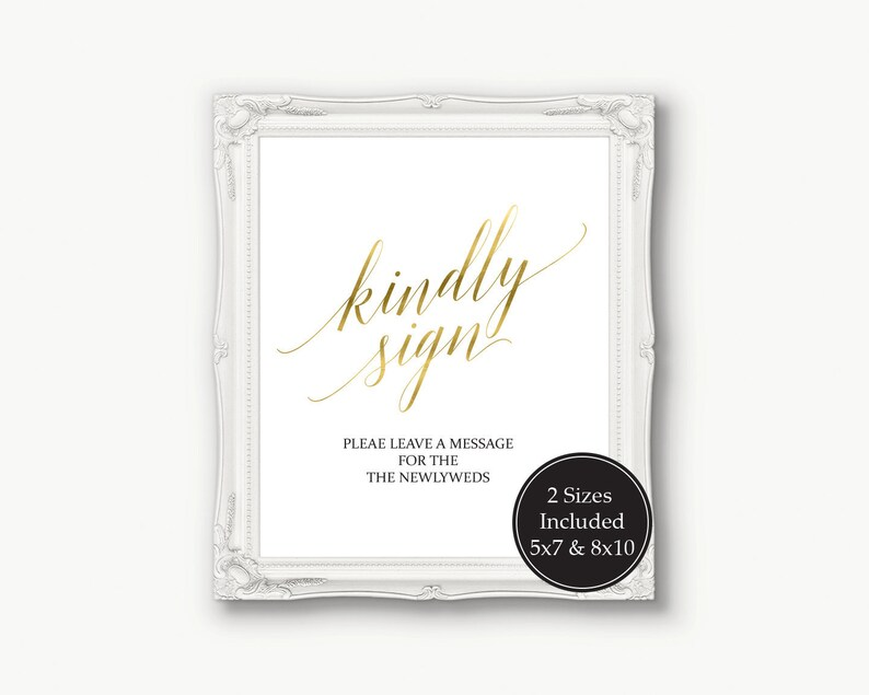 Gold Kindly Sign Wedding Template, Alternative Guest Book Sign, Please Sign  Printable, Editable Template, Instant Download 120G