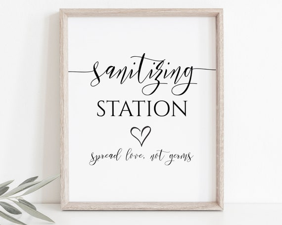 Elegant Sanitizing Station Sign, Wedding Spread Love Not Germs Sign, Wash Your Hands Printable, Editable Sign PPW550 GRACE