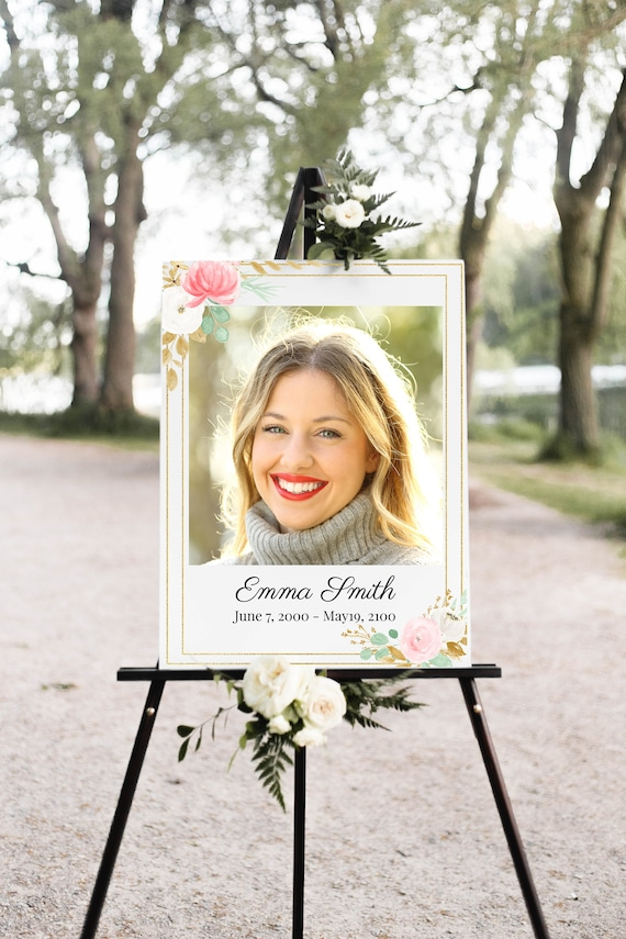Pink Floral Memorial Sign, Celebration of Life, Gold & Greenery Funeral Welcome Display, Editable Corjl Template PPF260