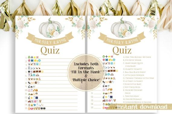 Little Pumpkin Emoji Nursery Rhymes Match Quiz ~ Gold, White and Green Baby Shower ~ Gender Neutral Pumpkin Design ~ Printable Game PPB130W