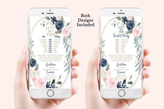 Wedding Party Hair & Makeup Timeline, Electronic Itinerary, Evite, Digital, Text Message, Pink Blush Navy Floral Editable, Corjl Videre-C4