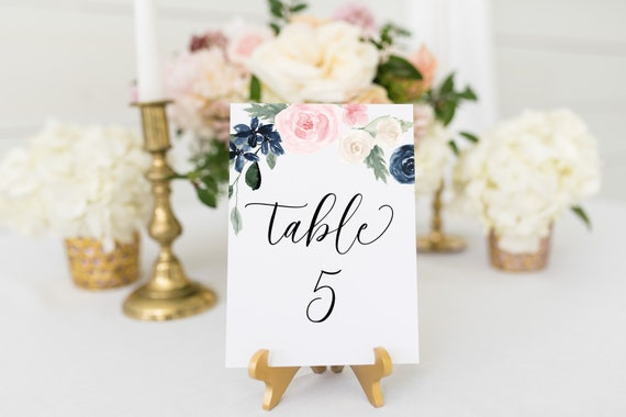 Wedding Table Number Template, Pink and Blue Floral Wedding Table Decor, Printable Table Numbers, 100% Editable PPW265 OLEA