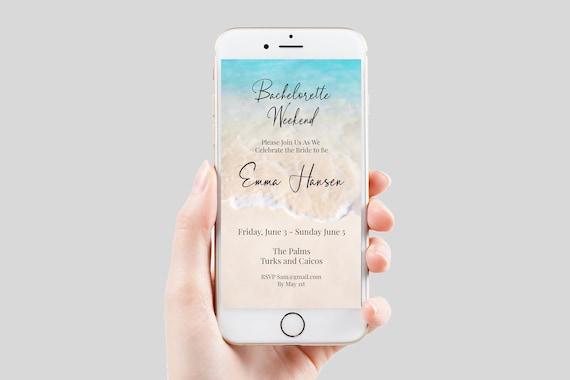 Beach Bachelorette Party Invite Template, Bachelorette Weekend, Email, Text Message Format, Blush, 100% Editable, Corjl PPW20 BREE