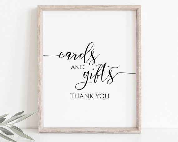 Cards and Gifts Sign Template, Wedding Table Top Sign, Baby Shower, Bridal Shower, Editable Wedding Printable, Corjl PPW0550 Grace