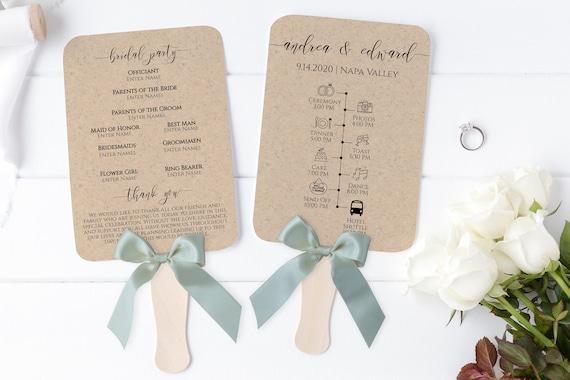 Wedding Fan Program Timeline, Wedding Order of Events, Ceremony Program 100% Editable PPW0550 Grace