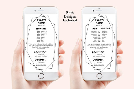 Frame Wedding Party Hair & Makeup Timeline, Electronic Itinerary, Evite, Digital, Text Message, 100% Editable, Corjl Videre-N1B