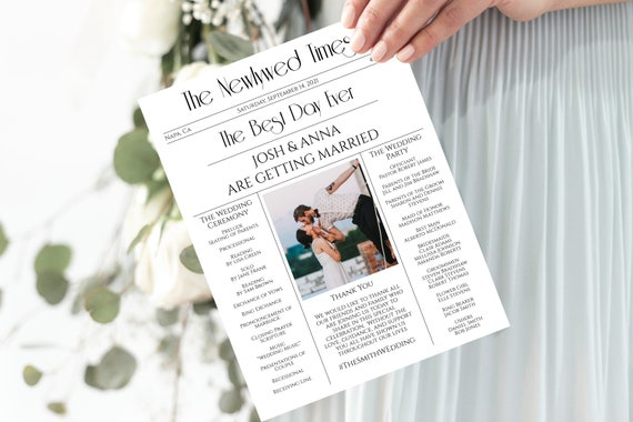 Wedding Newspaper Program, Modern Program, Editable Program, Template, Newspaper, Corjl, Instant Download  PPW1