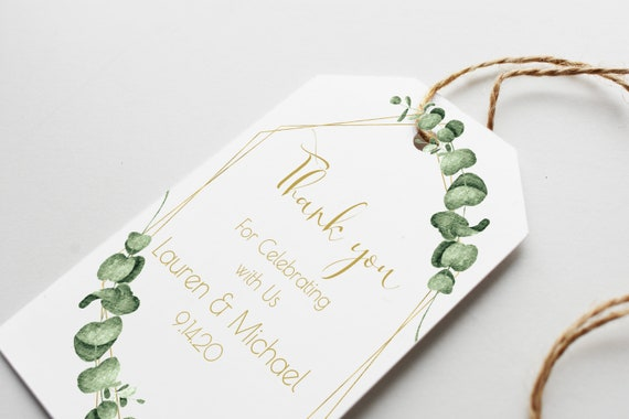 Gold Greenery Thank You Favor Tag, Wedding and Bridal Label Template, Shower Template, 100% Editable, Templett PPW0445