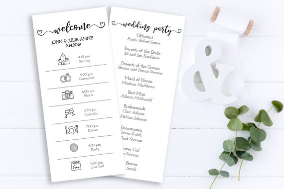 Wedding Day Icon Timeline Program, Green Foliage Schedule, Itinerary, Greenery Order of Events, 100% Editable, Templett PPW0480