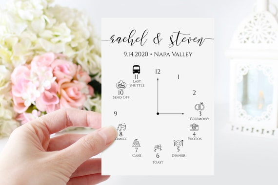 Wedding Day Icon Timeline, Schedule, Itinerary, Order of Events, 100% Editable, Templett PPW0550