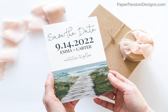 Beach Save the Date Template, Ocean Theme Announcement, Destination Wedding, Wedding Editable Printable PPW18 HAMPTON