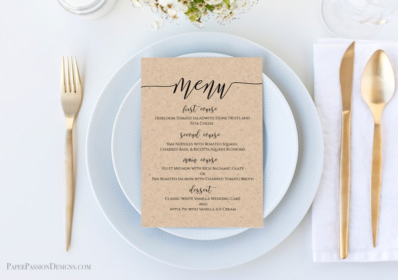 Modern Rustic Wedding Menu Template Script Font Menu Card image 0