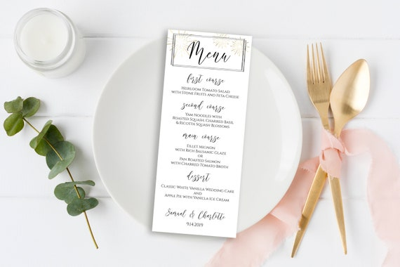 Gold and Silver Menu Card, Wedding Table Decor, Elegant Calligraphy, Table Seating, Sunburst Fireworks Editable Template, Corjl PPW-NY21