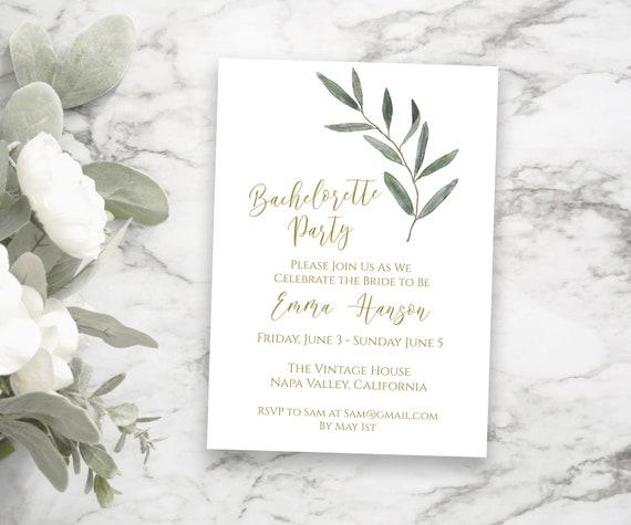 Bachelorette Party Invitation, Wedding Event, Elegant Greenery Bachelorette Weekend Invite, Editable Corjl Template PPW800