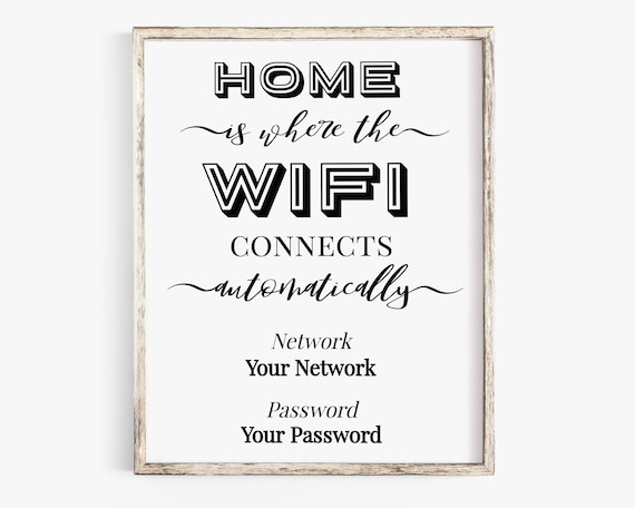 WIFI Password Printable, Wifi Password Sign, Home Internet Sign, Guest Room Sign, Instant Download 100% Editable, Templett PPW0575