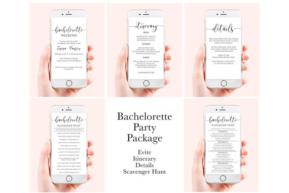 Bachelorette Party Electronic Template Package , Evite, Itinerary, Details, Scavenger Hunt, Mobile Phone Format, Corjl PPW0550 Grace