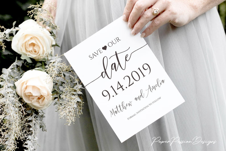 Save the Date Announcement Wedding Printable Heart Elegant image 0