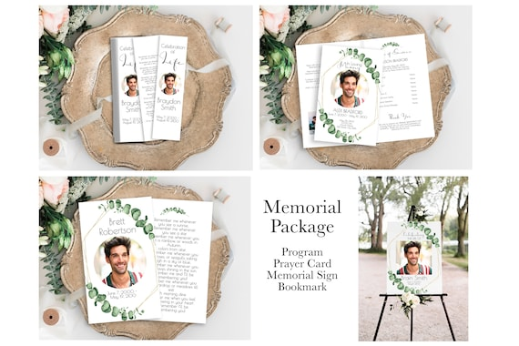 Memorial Package Welcome Sign, Program, Prayer Card, Bookmark Greenery, Printable Template, Gold Frame Editable Corjl Template CL445