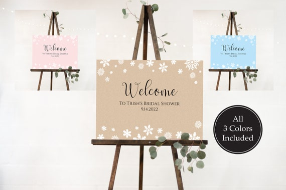 Snowflake Bridal Shower Welcome Sign Template, Large Easel Welcome Sign, Editable Sign, Personalize Corjl NEVE PPW300
