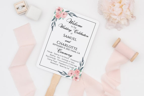 Fan Wedding Program Template, Printable Order of Service, 100% Editable, DIY, Blush Florals, Fan or Flat, Instant Download  PPW0220