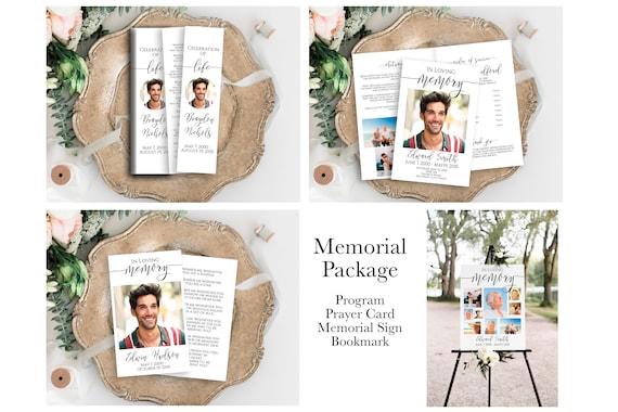 Memorial Package Welcome Sign, Program, Prayer Card, Bookmark Celebration of Life, Memorial Sign Editable Corjl Template PPF550