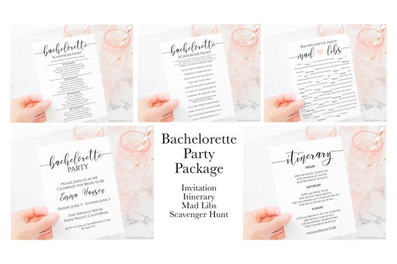 Bachelorette Party Package ,Invitation, Itinerary, Scavenger Hunt, Mad Libs, Party Template Set 100% Editable, Corjl PPW0550 Grace