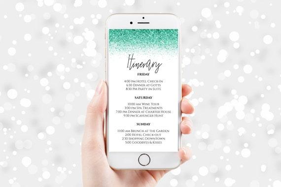 Glitter Itinerary, Hen Party, Electronic Invitation, Bachelorette, Bridal Shower, Event Agenda, Editable Template, PPW90Aqua