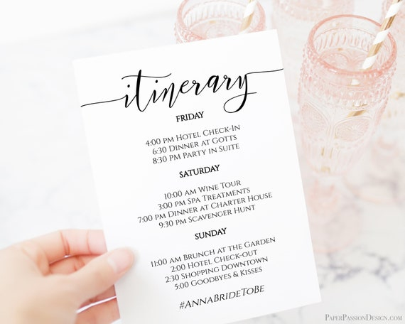 Itinerary, Bachelorette, Wedding, Family Reunion, Schedule of Events, Itinerary, Order of Events, 100% Editable Text, Corjl PPW0550 Grace