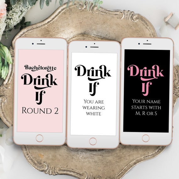 Drink If Bachelorette Party Mobile, Electronic Game Cards, Bridal Shower, Modern Retro Design, Pink, Black Bachelorette PPW74