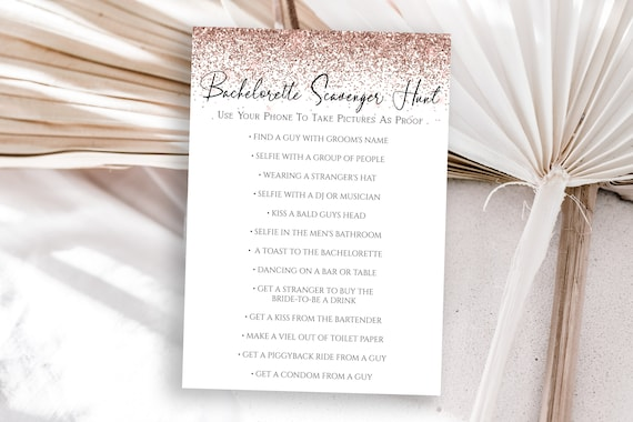 Rose Gold Glitter Bachelorette Party Scavenger Hunt Game Card Template, Bach Weekend Activity, Bridal Activity PPW90 PPW92