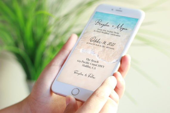 Beach Wedding Electronic Invitation Template, Email, Text Message, Tropical Wedding, Ocean Wave, Blush, Blue Printable Editable PPW20 BREE