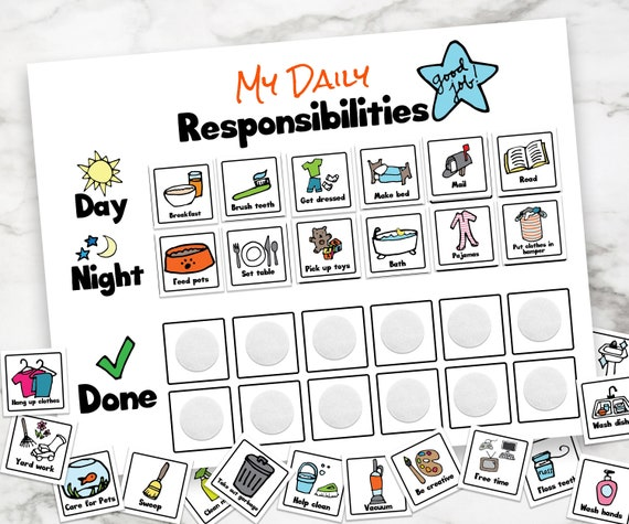 Daily Responsibilities Chart, Chore Chart, Kids Chores, Daily Routine, Child's Job List, Printable Chore Chart, Visual Task List for Kids