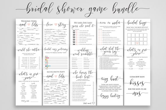 Bridal Shower Game Bundle, 15 Editable Templates, Customize, Rustic Modern Elegant Design 100% Editable, Templett PPW0550 Grace