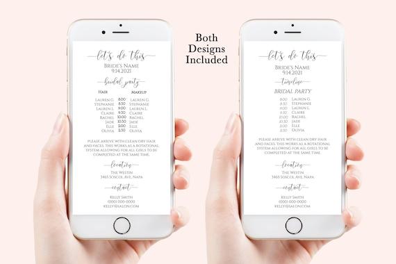 Wedding Party Hair & Makeup Timeline, Electronic Itinerary, Evite, Digital, Text Timeline, Editable Text, 100% Editable, Corjl PPW0550 Grace