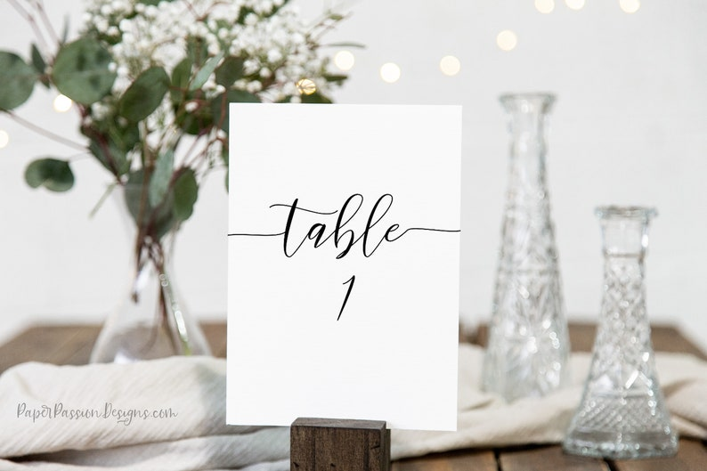 Simplistic Elegant Table Number Template Flat and Tent Cards image 0