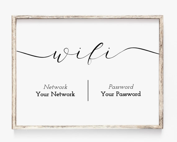 WIFI Password Printable, Wifi Password Sign, Internet Sign, Guest Room Sign, Instant Download 100% Editable, Templett PPW0235