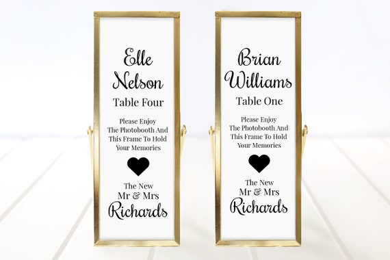 Photo Booth Place Card Frame Insert Template, Cursive Script Design, Wedding Favor 100% Editable, Templett PPW0570
