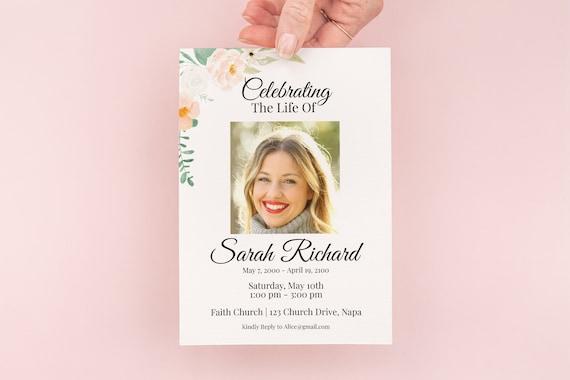 Memorial Invitation Card, Celebration of Life Template, In Loving Memory Funeral Invite, Blush Peach Floral, Editable Corjl Template PPF700