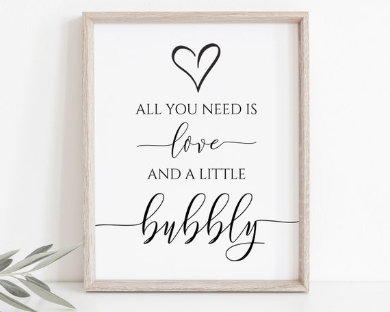 Love and Bubbly Sign Template,  Wedding Love Sign, Bridal Shower Signage, Editable Wedding Printable, Corjl PPW0550 Grace